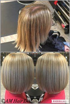 Before and after medium length sleek bob dimensional blonde no layers thin fine hair  AM Hair Designs at Star Image