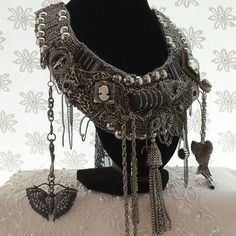 Steampunk Trinket Statement Necklace, Large Couture Goth Bib, Silver n Black, Metal Chains, Treasures and Trinkets, Layaway Plans