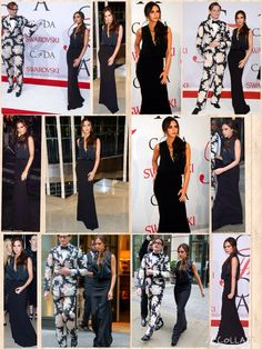 She's built her own fashion empire, so it was certainly fitting that Victoria Beckham make an appearance at the CFDA Fashion Awards on Monday. The 41-year-old singer turned designer highlighted her willowy figure in a slinky black gown with a loose-fitted bodice and a plunging neckline at the ceremony in New York City. The former Spice Girl glammed the look up with several statement necklaces and a large gemstone ring.