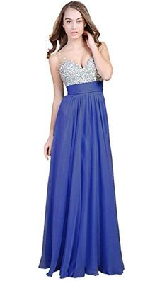 Fanhao Womens V Neck Sequins Chiffon Bridal Evening party Long prom dressBlue14 *** Be sure to check out this awesome product.