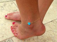 Opal Anklet / Heart Opal anklet / Gold Bracelet por BeSimpleJewelry