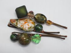 Jewelery Beaded Bobby Pins Spinach by JuvsJewels on Etsy