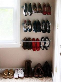 Image Source Tired of mountains of shoes, loafers and boots? Have a look at those Creative Shoes Storage Ideas. These storage units change in shapes and sizes. All are simple in design and quite simple to construct. Shoe Storage Design, Kids Shoe Storage, Shoe Storage Solutions, Closet Shoe Storage, Diy Storage, Storage Ideas, Shoe Racks, Storage Units, Storage Hacks