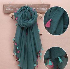 Primavera 2014 sólidos Hijab com borla vestuário acessórios Voile Scarf Desigual praia Pareo em Cachecóis de Roupas e Acessórios Femininos no AliExpress.com | Alibaba Group