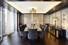 An amazing dining room from our Chesham Place project with ceiling light and wall light features. #diningroominspo, dining room goals, dining room decor, dining room Inspiration Luxury Dining Room, Dining Room Design, Dining Area, Dining Room Inspiration, Luxury Interior Design, Dining Furniture, Room Decor Bedroom, Luxury Homes, Home Decor