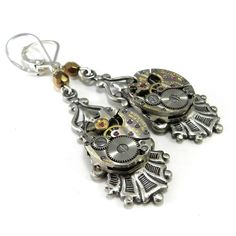 Clockwork Earrings - Silver Victorian Revival Setting - Crystal Accent #handmade #steampunk by Compass Rose Design http://www.compassrosedesignjewelry.com/