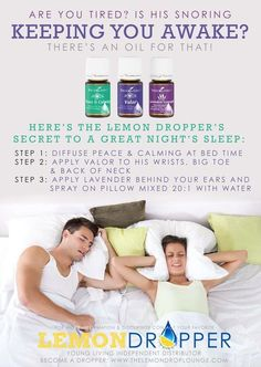 Stop Snoring Remedies-Tips - stop snoring with young living essential oils for wholesale prices - The Easy, 3 Minutes Exercises That Completely Cured My Horrendous Snoring And Sleep Apnea And Have Since Helped Thousands Of People – The Very First Night! Essential Oils For Sleep, Yl Essential Oils, Young Living Essential Oils, Essential Oil Blends, Pure Essential, Valor Young Living, Young Living Oils, Lemon Dropper, Massage