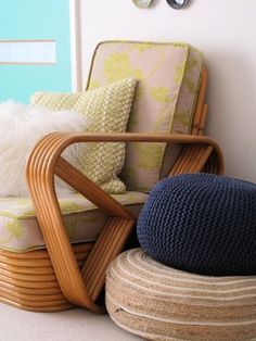 Paul Frankl pretzel rattan cane bamboo chair vintage