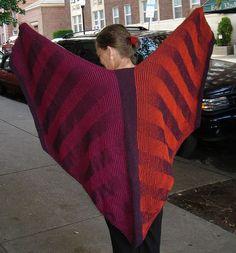 Vivian Høxbrowing's pattern Wing Shawl with Diagonal Stripes knit by annewswissknits using Harrisville Designs' Shetland yarn.