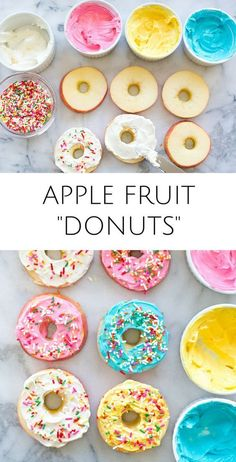 Yummy healthy kid snack or treat with less sugar than r… Easy Apple Fruit Donuts. Yummy healthy kid snack or treat with less sugar than regular donuts! These would make fun treats for kids parties too. Healthy Donuts, Healthy Snacks For Kids, Fun Meals For Kids, Snack Ideas For Kids, Easy Recipes For Kids, Healthy Treats For Kids, Breakfast Ideas For Kids, Healthy Kids Birthday Treats, Healthy Recipes For Kids