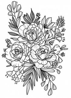 Tattoo flower design sketches mom Ideas for 2019 Colouring Pages, Adult Coloring Pages, Coloring Books, Flower Coloring Pages, Flower Tattoo Designs, Flower Tattoos, Tattoo Drawings, Body Art Tattoos, Floral Drawing