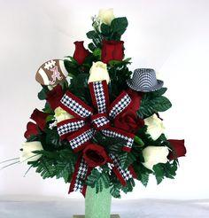 Alabama Crimson Tide Fan Vase Cemetery Flower Arrangement by Crazyboutdeco on Etsy