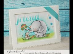 Framed Card featuring Ellie & Mouse Friend from Whimsy Stamps