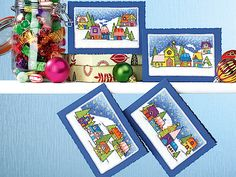 Festive snowscape scene cards | Free Chart | Cross Stitching