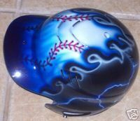 airbrushed baseball helmets designs | Airbrushed Batting Helmet Blue Flames Personalized New Baseball ...