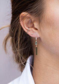 Celine Daoust Rough pencil Tourmaline Earring with diamonds and baguette tourmaline