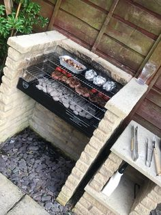 Front House Landscaping, Backyard Patio Designs, Backyard Projects, Backyard Landscaping, Barbeque Design, Grill Design, Lavabo Exterior, Brick Grill, Outdoor Barbeque