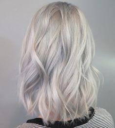 Icy blonde lob by Chantal Lauren
