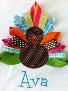 Girl Thanksgiving Shirt or Onesie - Turkey - Infant or Toddler - Ribbon Turkey - Personalized - Monogrammed Shirt. $25.00, via Etsy.