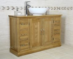 Light Oak Bathroom Vanity Unit