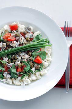 cauliflower, anchovy + tomato salad