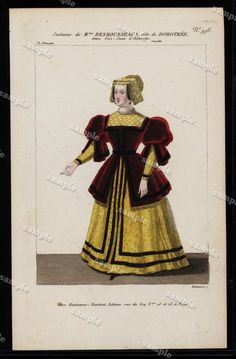 Theatrical hand colored costume Engraving by by Printvilla4you