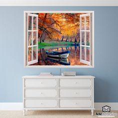 Vinilo decorativo Barca en el lago Painting, Art, Lakes, Fall Landscape, Scenery, Special Effects, Vinyls, Windows, Murals