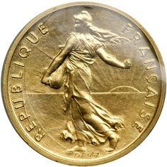 France. Gold Piefort ½ Franc, 1974. PF KM-P499 (KM-931). 18.6 grams. Mintage 91 struck. In original sealed plastic holder. Estimated Value $725 - 775 #Coins #Gold #MADonC