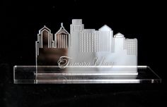 Acrylic Place Card custom cut into a city skyline Custom Rubber Stamps, Colorado Usa, Table Signs, Fort Collins, Acrylic Colors, Bookends, Place Cards, Skyline, City