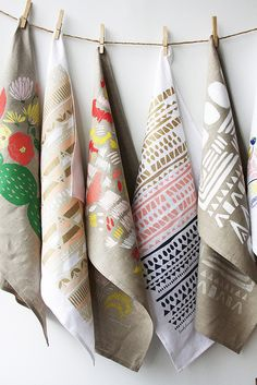 Hand printed tea towels by Leah Duncan--hang inspiring textiles like this in office Textile Prints, Textile Design, Fabric Design, Pattern Design, Scarf Display, Towel Display, Kitchen Art Prints, Tampons, Tea Towels