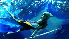 Surfing underwater. So blue. Art by me.