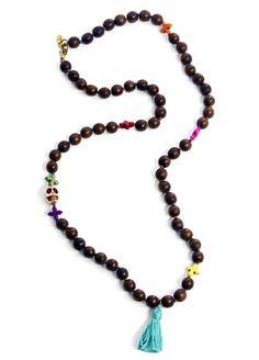 Melvin Jewelry Skull & Cross Wood Bead Necklace