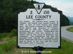 Lee County  Virginia Z-130  Marker History