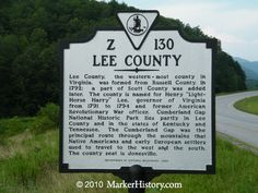 Lee County  Virginia Z-130  Marker History