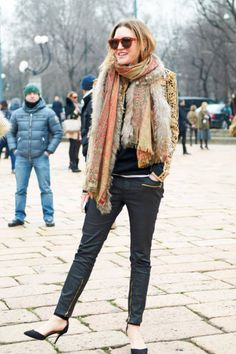 Fall 2013 Milan Fashion Week Street Style - Milan Street Style Fall 2013 - ELLE- the jacket, scarf, pants, love