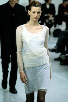 Kristen McMenamy on the Fall '97 Helmut Lang runway.
