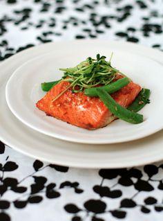 salmon with sweet chili glaze, sugar snap peas, and pea tendrils