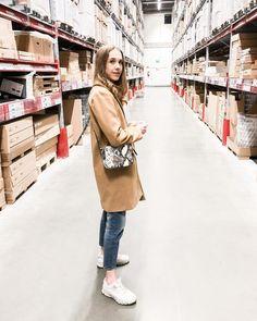 "Pinja sanoo Instagramissa: ""Quarantine being over called for a quick supermarket and IKEA trip ✨  ( 📷: @eetujohan )"" Ikea, Coat, Jackets, Instagram, Fashion, Down Jackets, Moda, Sewing Coat, Ikea Co"