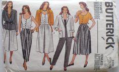 Women's Wardrobe Pattern - Unlined Jacket, Flared Skirt, Button Front Top, Pants - Butterick 3122 - Size 12, Bust 34 - MISSING POCKET PIECE by Shelleyville on Etsy