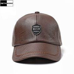 Solid Winter Leather Baseball Cap Men High Quality Snapback Hat Bone  Trucker Cap Casquette Homme Winter 1ef360b5b038