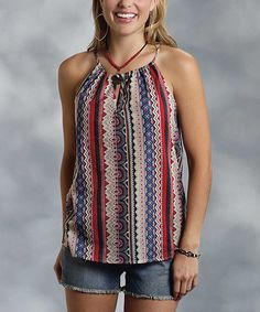 Blue & Red Abstract Stripe Tank - Women by Roper #zulily #zulilyfinds