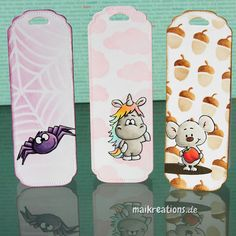"Cute set of bookmarks - made as a back to school gift set made with images by Gerda Steiner Designs. More pictures, a list of supplies and a ""walk through"" on how to make this card can be found on my blog ;o) Happy crafting! maikreations  maikreations"