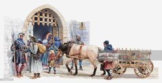 Inch Print - High quality prints (other products available) - Illustration of peasants arriving at a medieval castle to buy and sell in the courtyard market - Image supplied by Fine Art Storehouse - Photograph printed in the USA Horse Cart, Horse Horse, High Middle Ages, Early Humans, Classical Antiquity, Fine Art Prints, Canvas Prints, Medieval Castle, Medieval Town