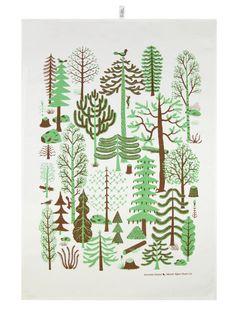 Kauniste keittiöpyyhe, Metsä - Kettukarkki SHOP
