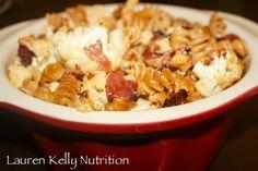 Cheesy Cauliflower Bacon and Pasta Bake | Lauren Kelly Nutrition