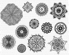 Mandalas Decorativas Tatuagens Henna Indiana Imagem Illustração Antiga Arte Retro Vintage Imprimir Alta qualidade Digital Img1575