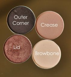 Base: MAC Soft Ochre Paint Pot Lid: MAC Sable Crease: MAC Malt Outer Corner: MAC Smut Browbone: MAC Mylar