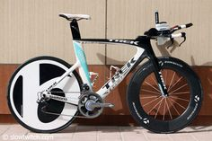 The Trek Speed Concept is a very smartly executed TT bike and the one featured here belongs to Dirk Bockel.  Very sleek lines and easily available in a variety of versions, this bike was very popular at the 2011 Ironman World Championships.