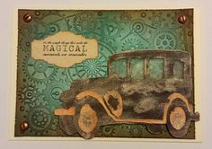 Antique car; steampunk embossing folder; gears; Distress ink background; masculine; manly birthday
