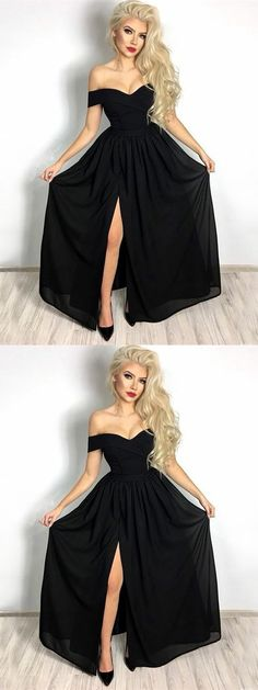 elegant black off shoulder prom party dresses , simple evening gowns split, chic formal gowns for special occasion.